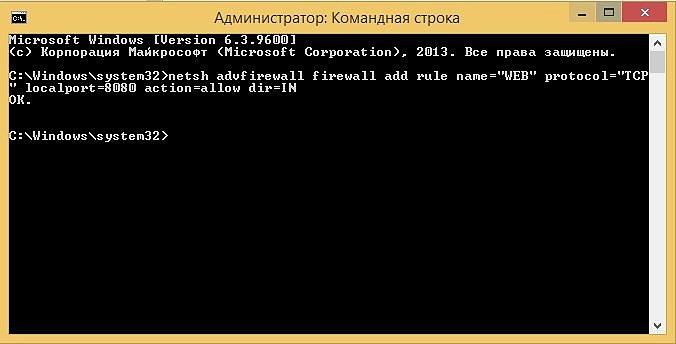 Открыть порт через командную строку в Windows (cmd)
